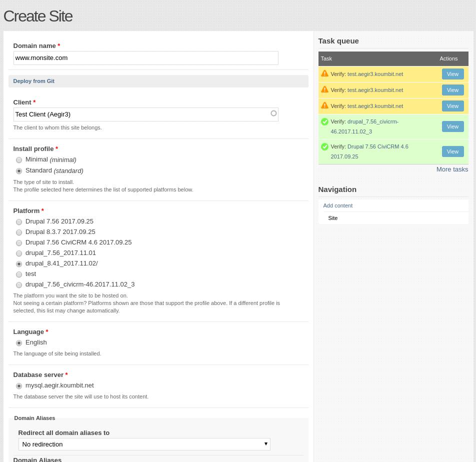 Example site creation form in Aegir dashboard