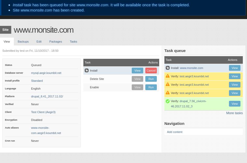 Aegir dashboard just after saving a new site